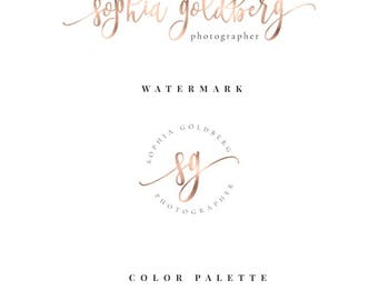 Rose gold logo, rose gold brand logo, premade logo, Gold foil, Rose Gold foil logo, Business logo, Photography logo, Calligraphy logo