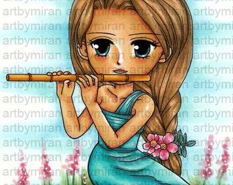 Digi Stamp-Serenade, Pretty Girl Coloring page, Big eyed girl Digital Stamp, Art by Mi Ran Jung