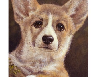 Gorgi Dog Portrait by award winning artist John Silver. Personally signed A4 or A3 size Print. CO001SP