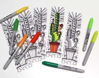Cactus bookmark coloring bookmark