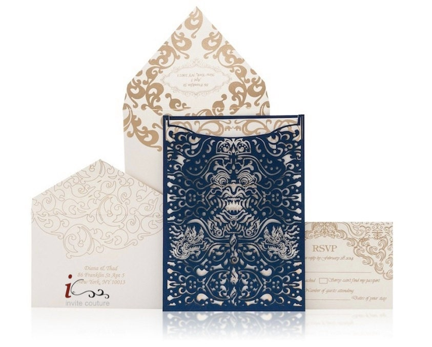 Custom Made Wedding Invitations: Custom Lasercut Luxury Bali Destination Wedding Invitation