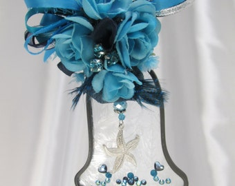 Blue Turquoise Lover of the Sea Frosted Stained Glass Bell Suncatcher or Ornament - Ready to Ship
