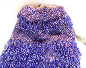 Large Sapphire Blue Flapper Sterling Drawstring Chain Hand Beaded Bag Purse, c. 1920
