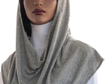 Koul SHôl Head Hoodie™ Head Hoodie Cowl Head Hoodie Veil Grey Cotton New Style Hoodie Veil Hijab Accessory Handmade