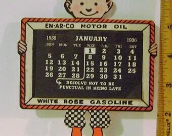 Vintage 1936 En Ar Co Oil Cardboard Die Cut Calendar