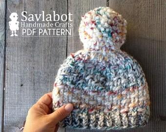beanie knitting pattern - knit beanie - knit pattern - pom pom beanie - pdf pattern - hat - chunky knit beanie pattern no. 009