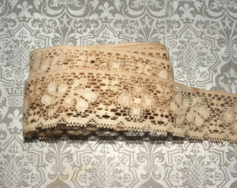 """Antiqued Lace 1 1/2"""" Wide, Ribbon, Trim, Scrapbook, Embellishment, Vintage, French Country, Distressed, Rustic, Shabby Chic, Wedding #12"""
