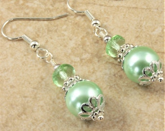 Light Green Pearl Earrings Green Crystal Rondelle Silver Bead Caps