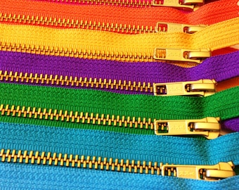 YKK metal zippers, 7 inch brass zippers, ten pcs - brown, grey, red, hot pink, orange, sunflower, purple, green, turquoise, aqua, gold teeth