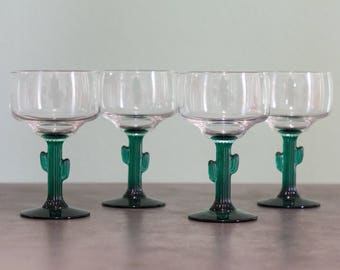 Set of 4 ⋆ NEW CACTUS MARGARITA Glasses ⋆ Barware ⋆ Vintage Drinking Glasses ⋆ Cinco De Mayo ⋆ Unique Housewarming Gifts ⋆ Gifts for Her