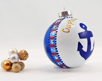 Anchor ornament - Hand painted personalized glass ball