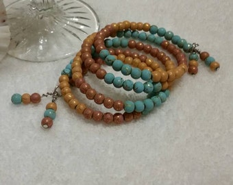 Memory wire bracelet, Southwestern colors, wrap bracelet, multi-loop bracelet, beaded bracelet, turquoise and brown bracelet, Southwestern