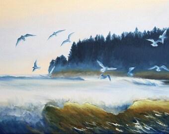 "GICLEE Fine Art Reproduction by Daina Scarola on 8-1/2""11"" fine art paper - Seaforth (seagulls, Nova Scotia, eastern shore)"