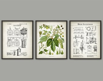 Beer Brewing Wall Art Print Set of 3 - Beer Making Wall Art - Beer Brewing Patent - Hops Humulus Hop Plant - Beer Making Inventions Art Set