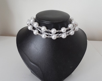 Pearl & Chrystal Choker Necklace