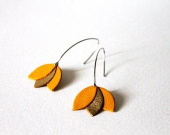 Lotus petals leather ochre and gold earrings