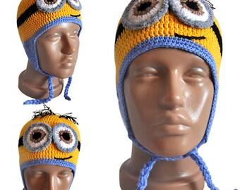Minion hat, winter hat, autumn hat, funny hat, baby boy hat, baby girl hat, knit hat