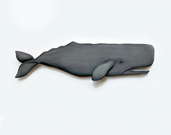 SPERM WHALE 48 in. art wood sculpture, collectible Whale art, whale sculpture, whale art, new england art, nautical art, maritime decor