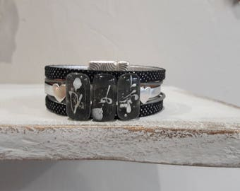 Bracelet leather cuff, black leather and silver grey fusing glass