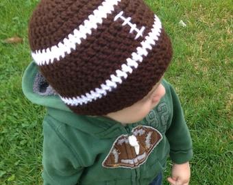 Crochet Football Hat - Football Beanie - Photo Prop - Baby Shower Gift - Boys Hat - Girls Hat - Crochet Beanie - Sports Hat