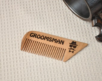 Personalized Comb, Wooden Comb, Groomsmen gifts, Groomsmen comb, Gift for him, Rustic comb, Natural Comb, wooden hair comb,moustache comb