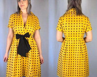Vintage Diane Von Furstenberg Yellow Cut Out Dress Medium