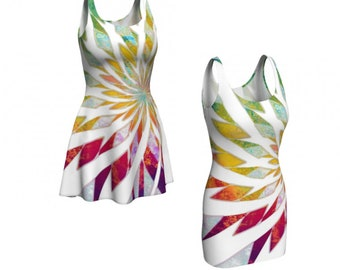 Opal Blossom Bodycon Dress / Flare Dress / Rainbow Dress / Party Dress / Fitted Dress /  Fit and Flare Dress / Bridesmaid Dress