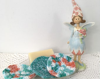 Blue Fairy Crochet Facial Scrubbies - Kitchen and Bath Scrubbies - Skincare Scrubbies Cotton Crochet Facial Scrubbies