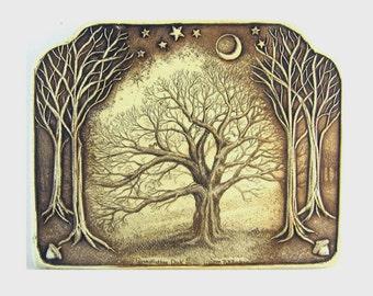 Oak tree acorns half moon bird squirrel nature wall plaque by Moosup