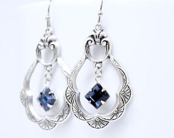 Montana Sapphire Hoop Earrings, Silver Sapphire Earrings, Art Deco Earrings, Blue Crystal Earrings, Smoky Blue Earrings, Victorian Jewelry