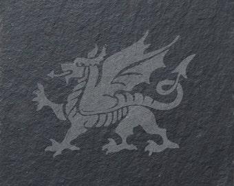 Welsh Dragon Slate Coaster