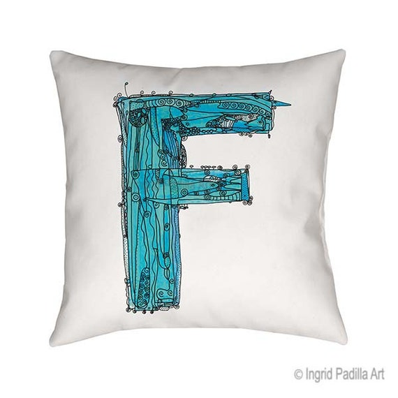 Whimsical, Letter, F, Pillow, Decorative, monogram pillow, Illustration, funky, typography, Alphabet, Art, Printed fabric, Ingrid Padilla