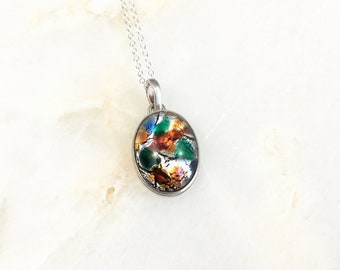 Vintage Sterling Dichroic Glass Pendant