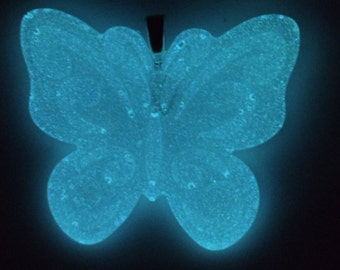 Glowing Light Blue Butterfly Necklace