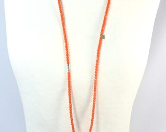 Faceted Bohemian glass and pendant necklace print openwork