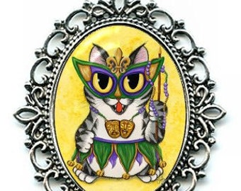 New Orleans Mardi Gras Cat Necklace Mask Beads NOLA Cat Cameo Pendant Grey Tabby 40x30mm Gift for Cat Lovers Jewelry