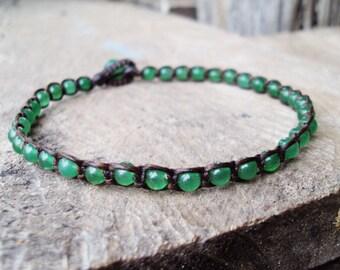 Jade anklets,Stone anklets,Men anklets,Green anlets,Beadwork anklets