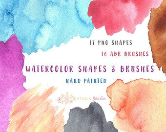 Watercolor Shapes Splotches abr Brushes Hand Painted Photoshop Brushes png Blog Graphics