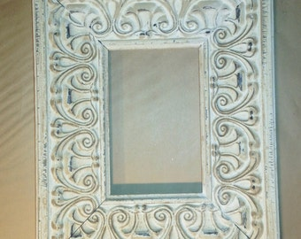 """White Washed Shabby Chic French Country Picture Frame 4 x 6"""""""