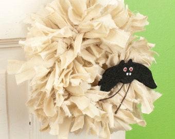 "Halloween Door Knob Hanger - 6"" Mini Fabric Rag Wreath Ornament with Black Bat - Cute Halloween Decor"