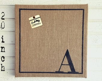 Classic Monogram 20x20  Burlap Covered Cork Message Board   Personalized Letter  Pin Board, Cork Board, Bulletin Board, Memo Board  - Custom