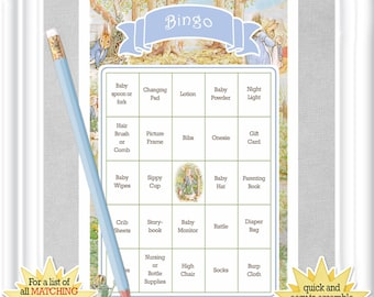 36 card BABY BINGO game with a childhood favorite - Peter Rabbit, pre-populated Baby Shower cards, no DUPLICATES, vintage theme, 80BA