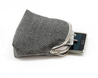 Black and White Wallet, Double Pockets Coin Purse, Cards Slot Wallet, Kiss Lock Purse, Double Pockets Wallet, Metal Frame