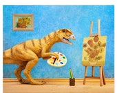30% OFF SALE Funny dinosaur art print: Primitive Art