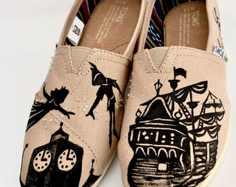 Disney Toms - Peter Pan Toms - Disney Custom Toms - Disneyland Toms - Peter Pan Gift - Hand Painted Womens Toms - Disney Accessories