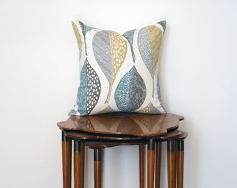Graphic Leaf Print Pillow Cover, in Teal, Mustard, Grey + White