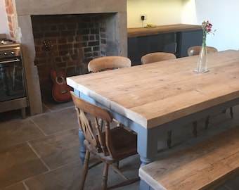 Large Reclaimed wood Dining table & matching bench. Made to measure, 7 foot 2.1m, thick chunky top, Moles breath grey painted farmhouse base