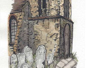 Original Pen and Ink with Watercolor Painting of Old Medieval Church and Gravestones - Urban Sketching Style