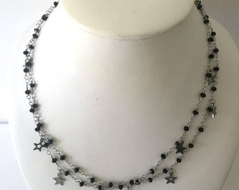 Rosary beads necklace, black necklace, stars necklace, long necklace, unbreakable rosaries chain