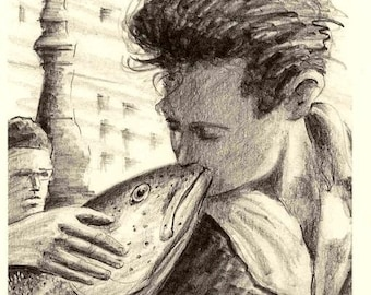 By the Hotel de Ville ... 8x10 Funny Fish Kiss Art Print classic Paris Photo parody on Love by Barry Singer